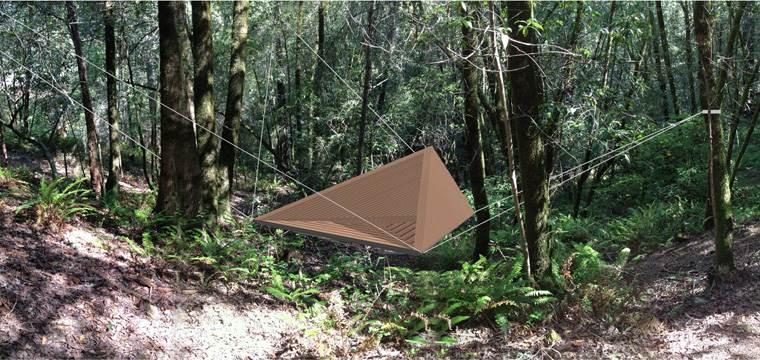 Floating Meditation Platform in the Forest